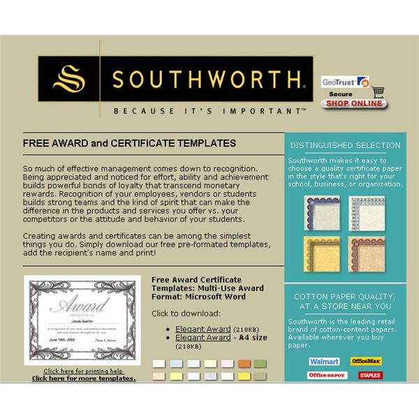 Find a free microsoft word certificate template the award certificate from the southworth collection can southworth yadclub Choice Image