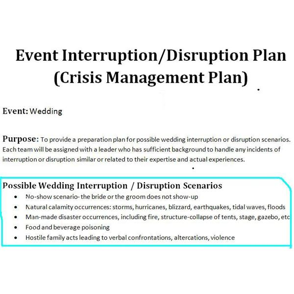 study of a crisis management plan sample for a wedding event. Black Bedroom Furniture Sets. Home Design Ideas
