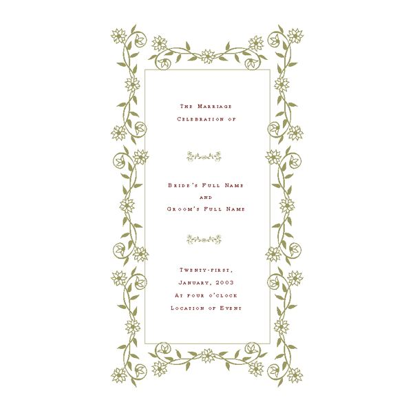 Wedding Program Templates Free - Pages wedding program template