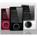 Three models of the Zune : Zune 4, 8, 16 (left), Zune 80, 120 (center), and Zune 30 (right).