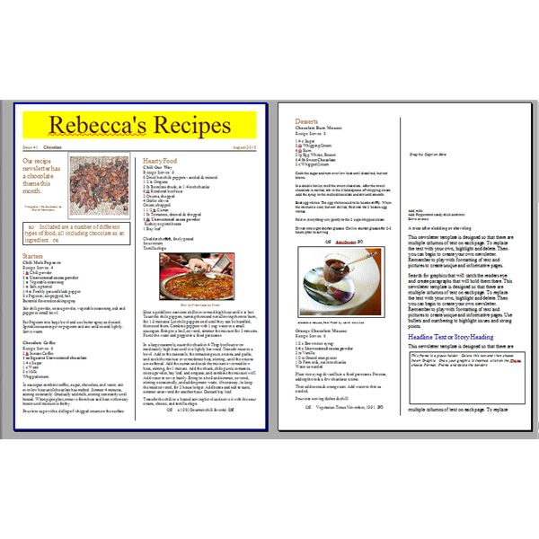 cookbook layout template