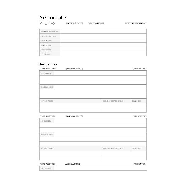 Free templates for business meeting minutes for Standard minutes of meeting template