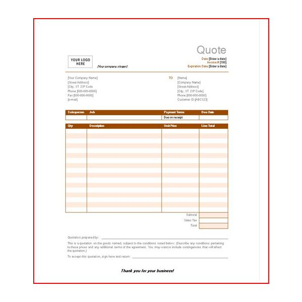 Quote Sheet Template Contractor Business Number Sample Quote Sheet