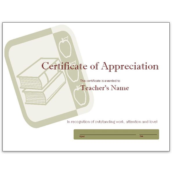 Free teacher appreciation certificates download word and books and apples publisher certificate template pronofoot35fo Gallery