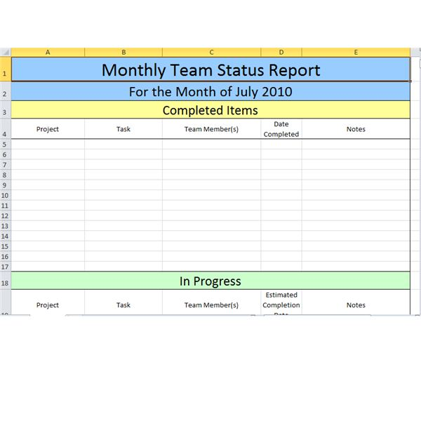 Screenshot   Monthly Team Status Report In Excel