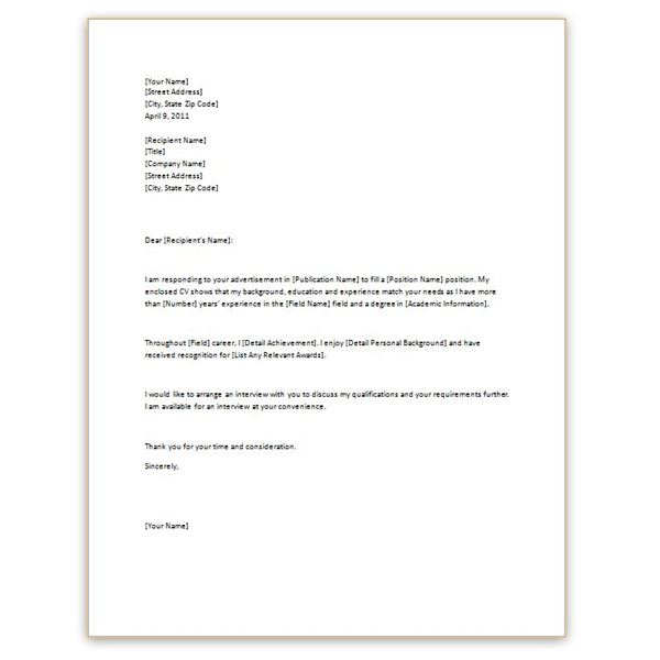 simple cv cover letter - Free Cover Letters Templates
