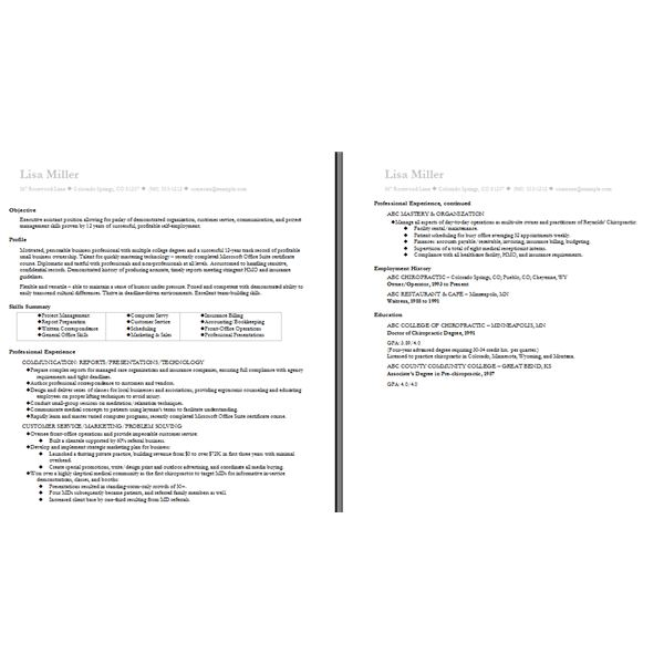 One Page Resume Format Free Download Multiple Doc Functional Word