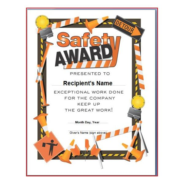 Safety award certificate template