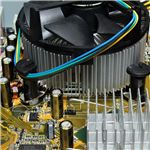 View of motherboard and internal computer components.