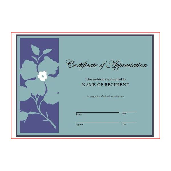 Certificate Of Appreciation To Use For Volunteer Work  Free Appreciation Certificate Templates For Word