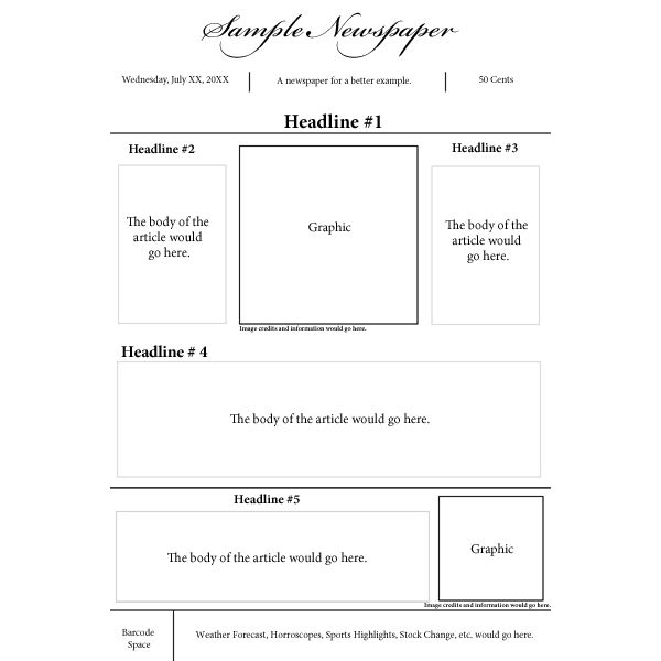 Options For A Nespaper Front Page Layout