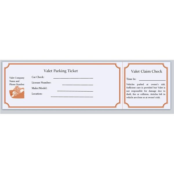 Parking Ticket Templates: Valet  Free Ticket Maker Template