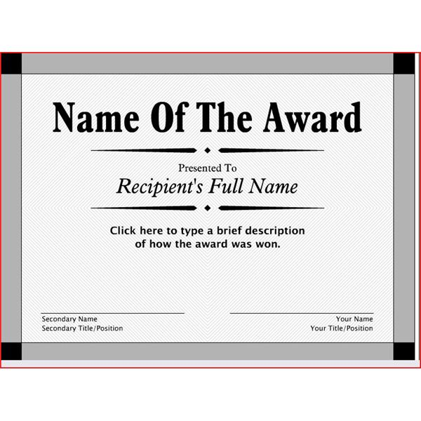Free Printable Award Certificates10 Great Options for a Wide – Blank Award Templates