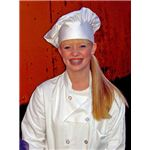 """Woman wearing a traditional chef's uniform"