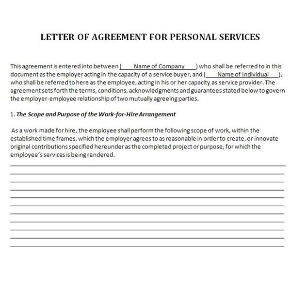 wfh letter of agreement