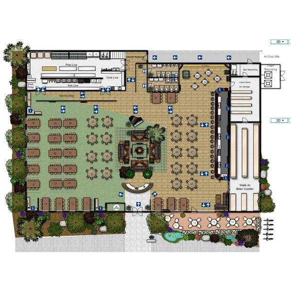 Open kitchen restaurant layout afreakatheart Restaurant floor plan maker