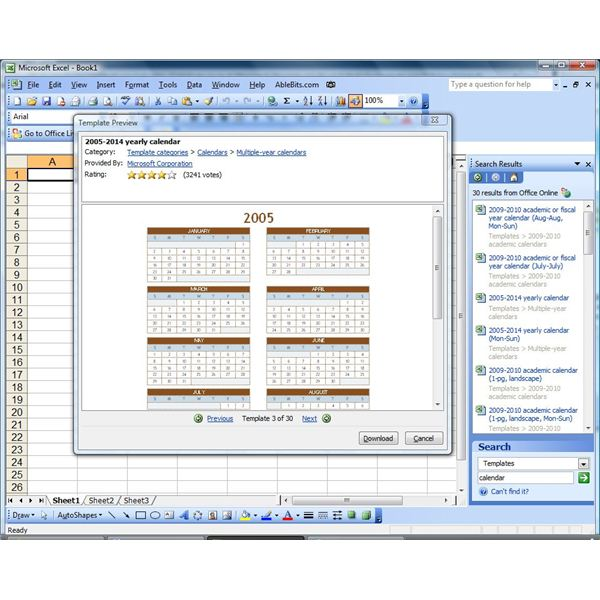 Create a calendar in microsoft excel or insert a reference for Microsoft access 2003 templates