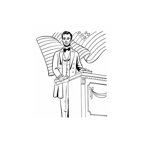 abe lincoln coloring sheets giving speech