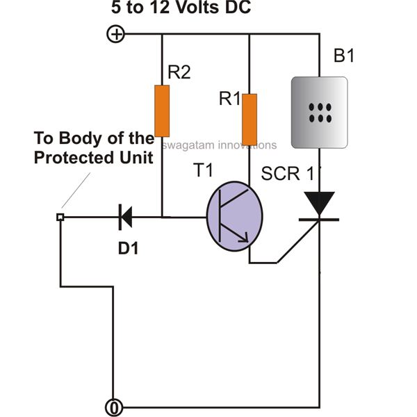 how to make simple scr circuits simple scr security alarm circuit diagram image