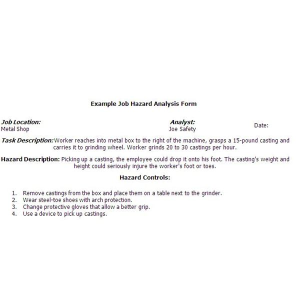 Sample Job Safety Analysis Form Are You Compliant With Federal – Job Hazard Analysis Worksheet