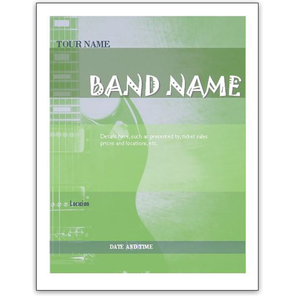 Download Free Band Flyer Templates For MS Word Or Publisher - Brochure templates publisher