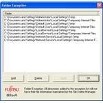 Folder exception configuration
