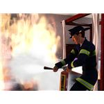 Firefighter sims respond to large and small house fires.