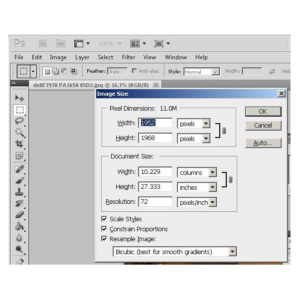 how to change document size in photoshop