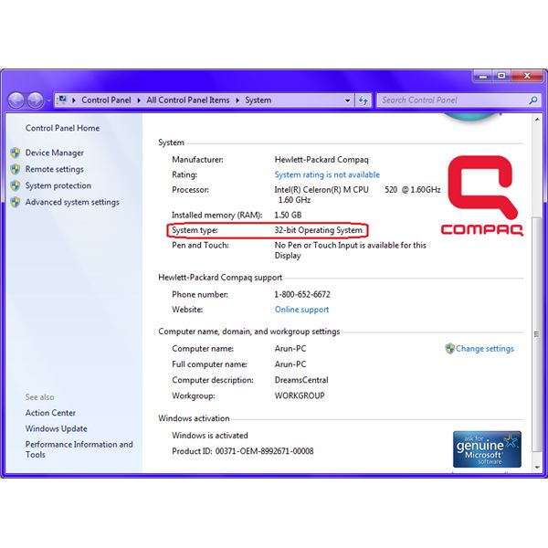 how to tell windows 7 32 or 64