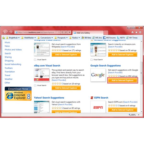 How Do I Add Search Engines to Internet Explorer 11?