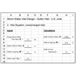 Storm Water Gutter Inlet Design Weir Equation U.S. units