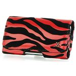 Black Red Zebra Pattern Leather Case Clip