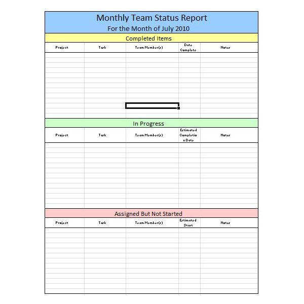 Sample Team Monthly Report Template in Excel Free Download Tips – Progress Status Report Template