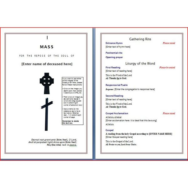 Memorial Program. Photo Red Rose Funeral Program | Memorial
