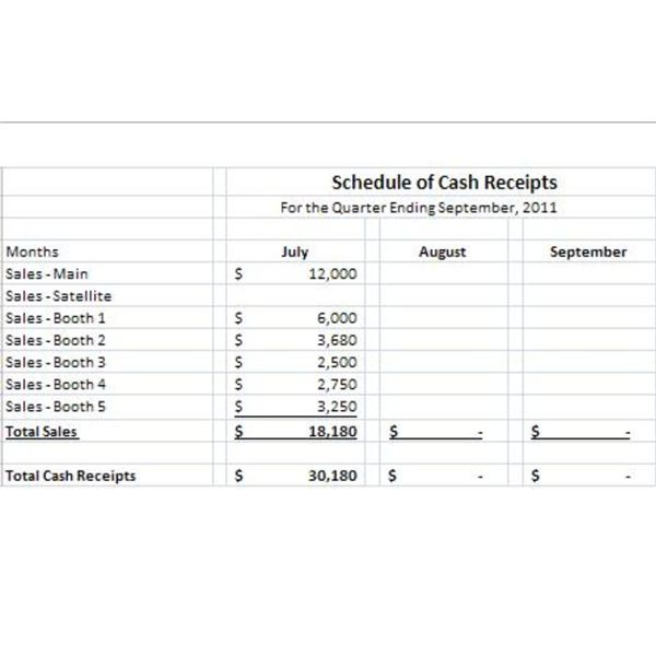 Schedule Of Cash Receipts 2  Cash Receipt Sample