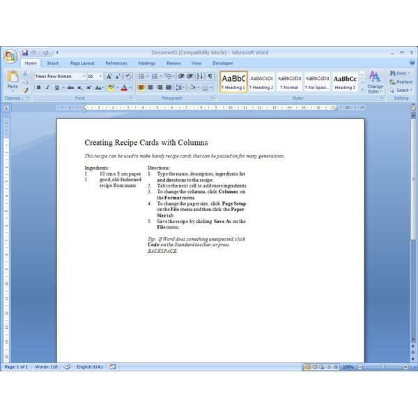 Finding Microsoft Word Recipe Templates