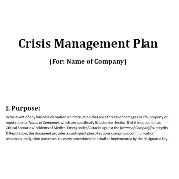 Free Downloadable Template A Plan for Crisis Management – Business Contingency Plan Example