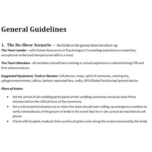General Guidelines for Action Plans