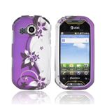 Pantech Crossover P8000 Rubberized Plastic Case - Purple Flowers & Vines on Silver