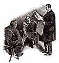 Sherlock Holmes reads a newspaper
