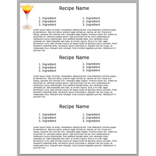 free recipe template for word