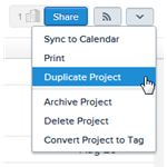 Duplicating a project in Asana