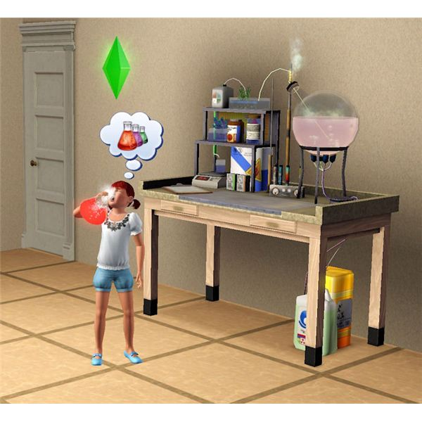 The Sims 3 chemistry potion in use by kid