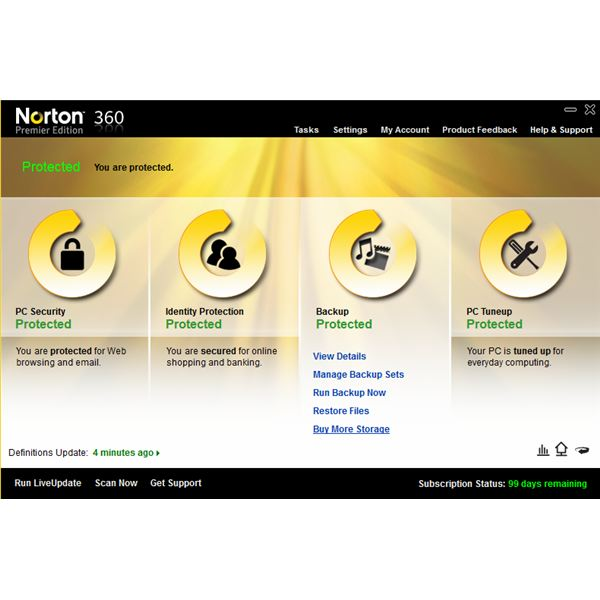 Norton 360 Interface Showing Storage Option