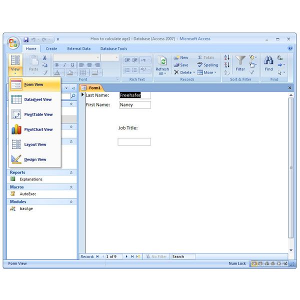 Microsoft Access 2007: How to Create a Form Manually in