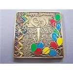 Happy Birthday geocaching coin in gold