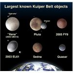 Size comparison of several known Kuiper Belt Objects, courtesy of NASA.