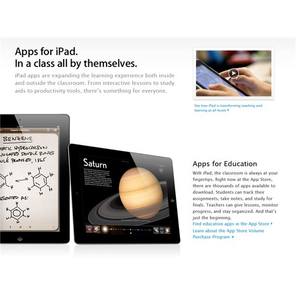 iPad in Education: Screenshot from Apple.com