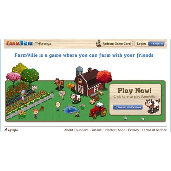 The Homepage of the FarmVille.com Website