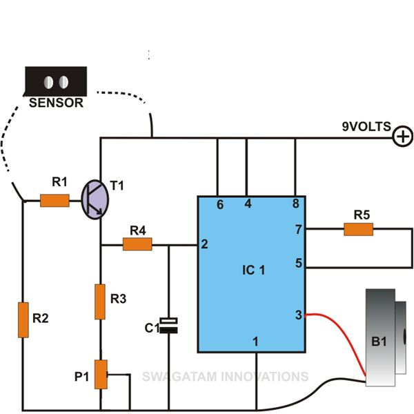 Simple Rain Sensor Using IC 555, Circuit Diagram, Image